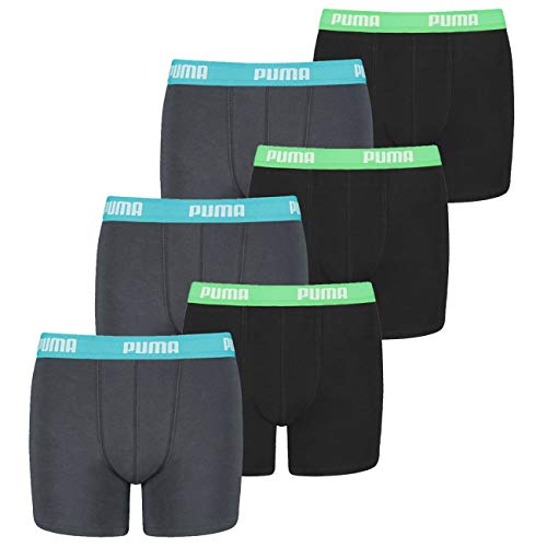 PUMA 12 er Pack Boxer Boxershorts Jungen Kinder Unterhose Unterwäsche, Farbe:376 - India Ink/Turquoise, Bekleidung:176