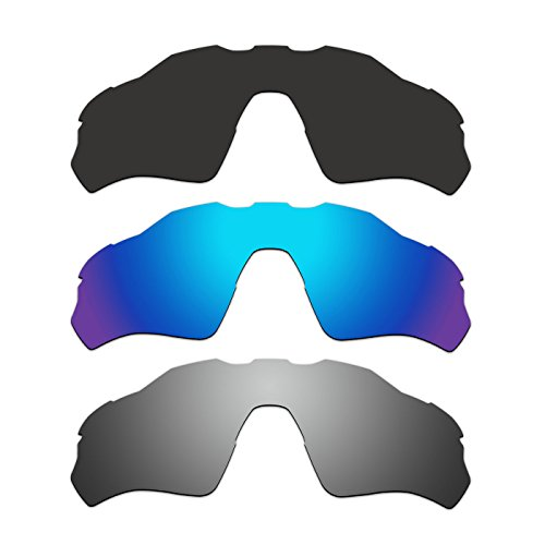 3 Pair ACOMPATIBLE Replacement Polarized Vented Lenses for Oakley Radar EV XS Path (Youth Fit) Sunglasses OJ9001 Pack P4