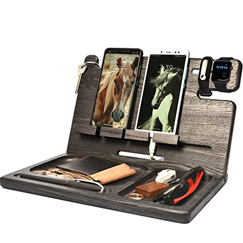 BarvA Wood Docking Station Tray Two Cell Phone Smartwatch Holder Men...