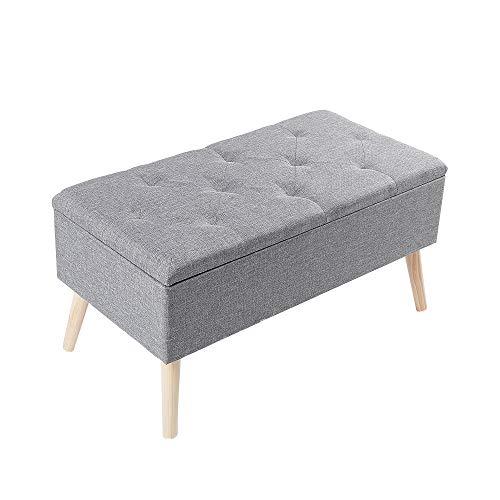 Zedelmaier Sitzbank Sitztruhen Footstool Aufbewahrungsbox Stuhl Ottoman Polstersitz Moderne Möbel (Graues Leinen)