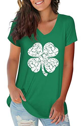 Womens St Patricks Day Tee Shamrock Shirts St Pattys Day Tops Green M