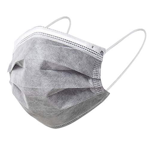 Blingko Mundschutz Einweg Grau mit Nasenbügel 50 Stück Einweg Erwachsene 3lagig 3-Lagig Mund und Nasenschutz Staubdichter Atmungsaktiver Komfortabler Elastischer Ohrenschützer Schal