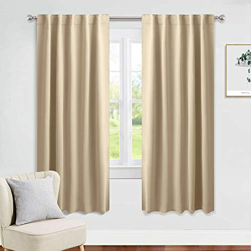 PONY DANCE Window Treatments Curtains - Room Darkening Heavy-Duty Light Block Curtain Drapes Soft Back Loop Draperies Privacy Protect for Bedroom, W 42 x L 63 Inches, Biscotti Beige, 2 Panels