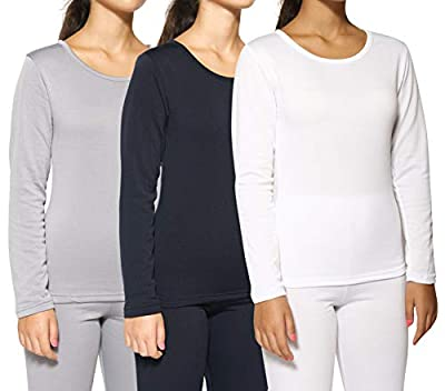 3-Pack: Women's Thermal Fleece Lined Long Sleeve Undershirts Pack Cute Compression Tops Essential Winter Clothing - Set 4, Medium