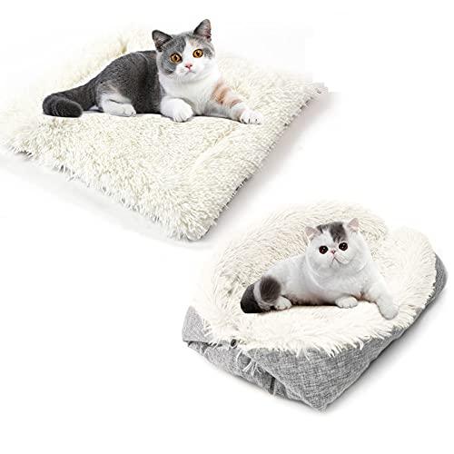 Shujin Katzenbett Hundebett 2-in-1 Haustierbetten mit Doppeltem Verwendungszweck Flauschige Plüschdecken für kleine Hunde Warme Schlafmatte für den Winter