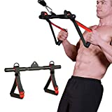 Clothink Cable Machine Attachments Rowing Machine Handle Detachable, All-in-One Straight Bar Tricep Rope Handles for Gym