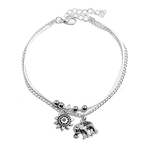 TOMLEE Handmade Three Layers Alloy Sun Elephant Charm Rope Chain Anklet Bohimian Vintage Adjustable Length Ankle Bracelet