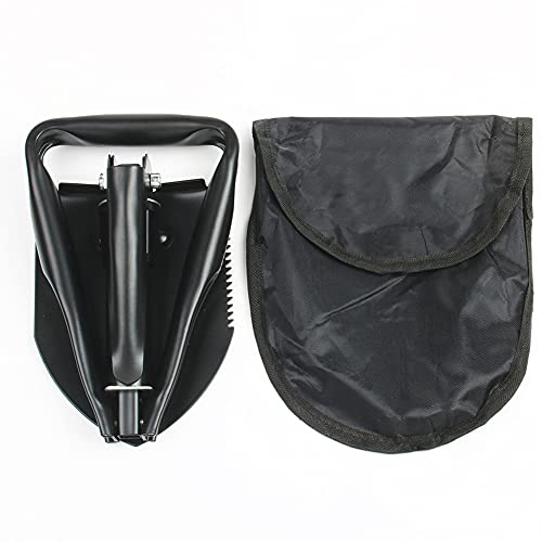 Pala Plegable, Pala Plegable Multifuncional Mini Pala para zanjas con Bolsa de Transporte para Supervivencia Camping al Aire Libre (Negra)