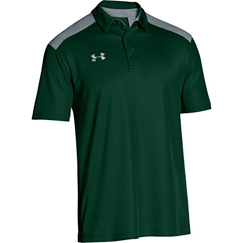 Under Armour Mens Team Armour Colorblock Polo (Small, Forest Green/Steel)