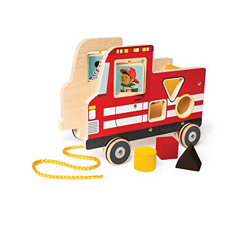 Manhattan Toy Fire Truck Wooden Pull Along Activity Toy Shape Sorter