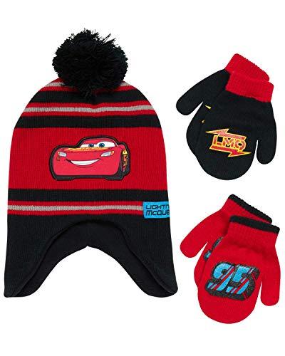 Disney Cars Lightning McQueen Winter Hat 2 Pair Mittens or Gloves (Toddler/Little Boys), Black/Red Mittens 2-4