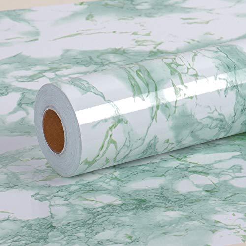 VEELIKE Adhesivo Mármol Verde Papel Pintado Vinilo Papel Pared Impermeable Rollo Papel para Forrar Muebles para Decorar Dormitorio Sala Habitación 0.4m x 18m