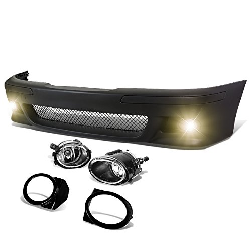 DNA Motoring FBP-FL-002 Polypropylene ABS Front Bumper+Fog Light (M5 Style) [For 96-03 BMW E39], Black