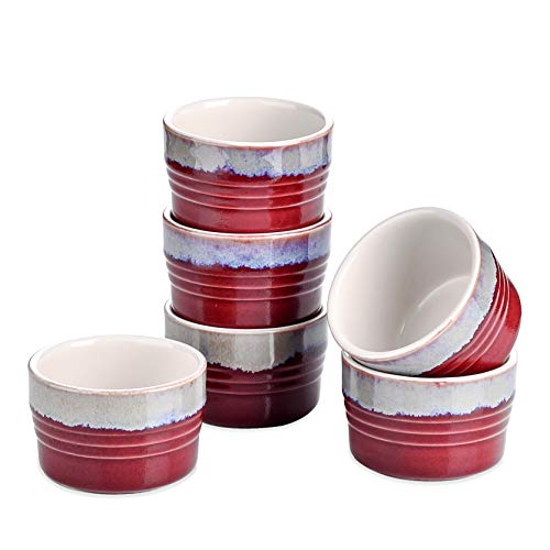 LOVECASA Stoneware Ramekins, 8.5 oz Oven Safe Souffle Dishes Creme Brulee Ramekins for Baking, Bakeware Set Baking Cups Souffle Ramekins Bowls for Puddings, Set of 6, 3.7 x 2.5 inch, Red and Grey