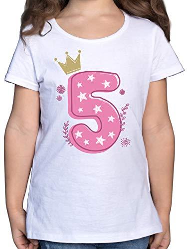 Geburtstag Kind - 5. Geburtstag Mädchen Krone Sterne - 128 (7/8 Jahre) - Weiß - Fun - F131K - Mädchen Kinder T-Shirt