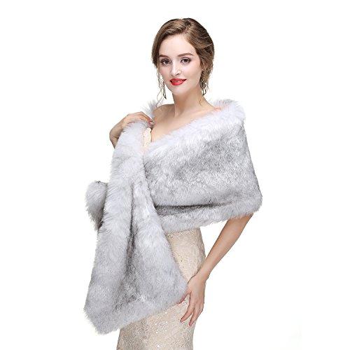 Luyao Women's Faux Fur Shawl Shrug Brown Universal Girl Raccoon Wraps White/Grey Fox Fur