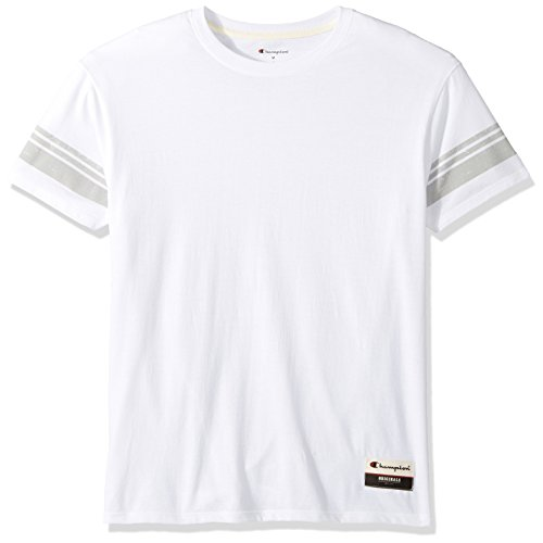 Champion Men's Authentic Originals Tri-blend Short Sleeve Varsity Tee, White/Gray Stripe, Large