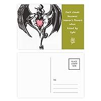 壊れた鎧の愛の心の巨大な翼 詩のポストカードセットサンクスカード郵送側20個