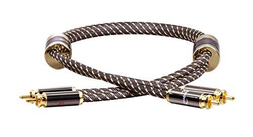 Dynavox Black Line High-End Cinchkabel Stereo, Premium RCA-Kabel mit mehrfacher Abschirmung, hochreines Kupfer, 24k vergoldete Stecker, 1 m