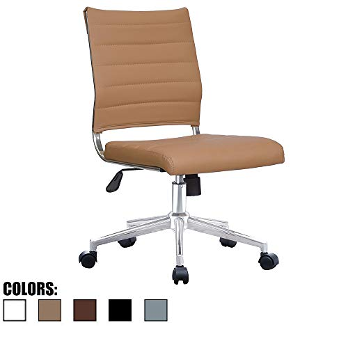 2xhome Brown Modern Ergonomic Executive Mid Back PU Leather No...