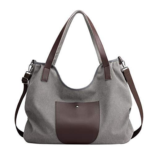 PB-SOAR Damen XXL Vintage Canvas Shopper Schultertasche Umhängetasche Handtasche Beuteltasche Freizeittasche Tragetasche (Grau)