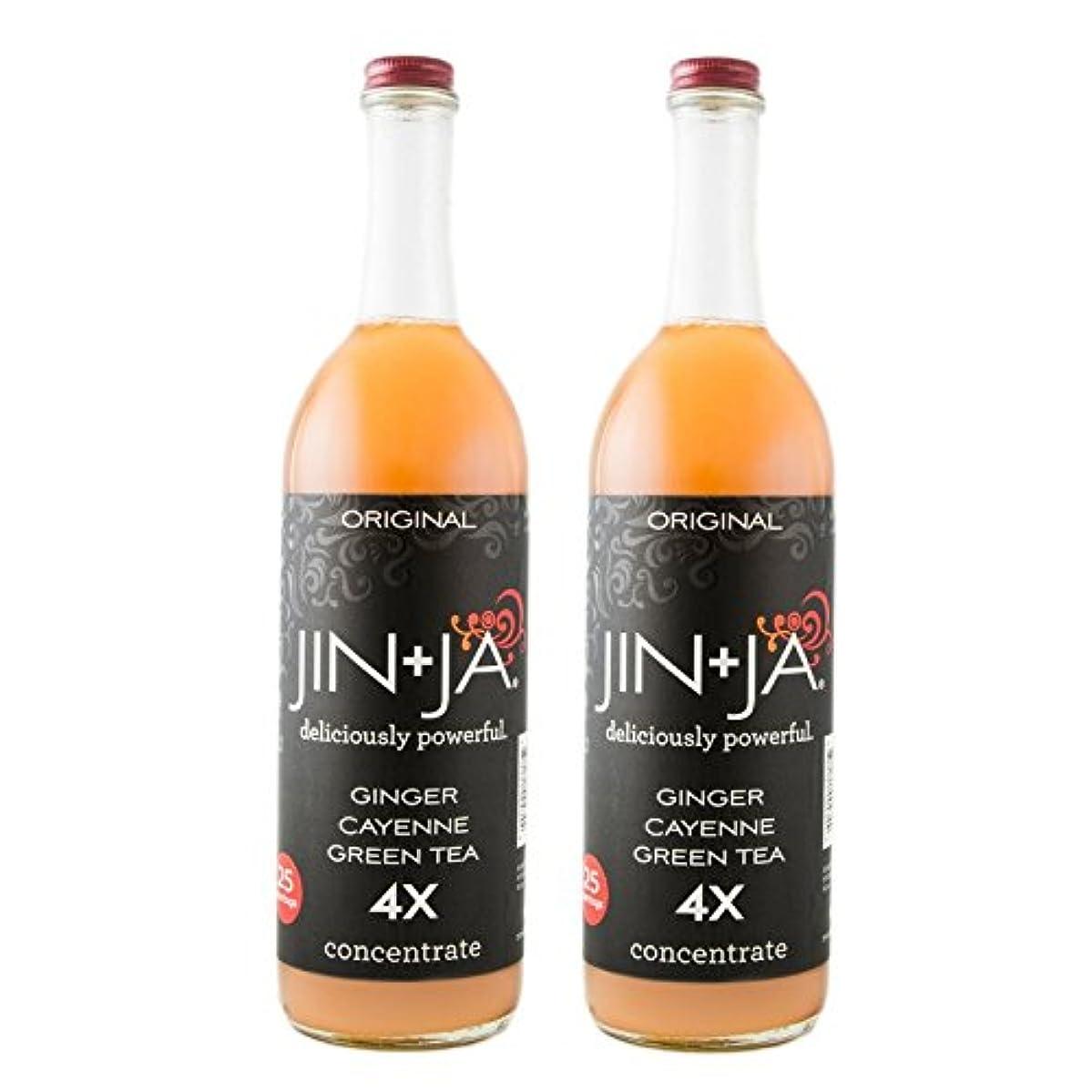 JinJa Original Fresh Ginger Green Tea Drink in 4x Concentrate - 750ml, 2 Pack