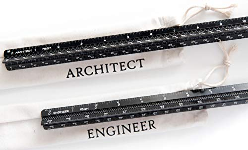 Architectural Scale Ruler and Engineer Scale Ruler Set - Two Black Laser-Etched 12 Inch Solid Aluminum Triangular Scale Rulers with Protective Sleeves