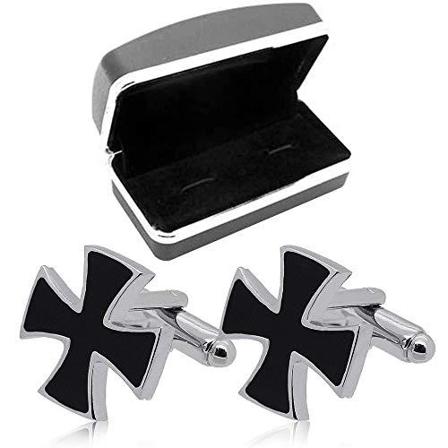 Tumundo 2 Buttons de Manchette + Etui Acier Inoxydable Croix Chemise Cravate Homme Bijoux Mariage Accessoire