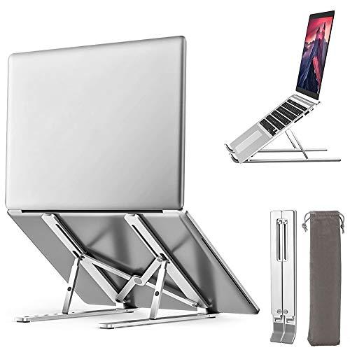Laptop Stand, Swonuk Ergonomic Portable Adjustable Laptops Elevator for Desk, Ventilated Foldable Anti-Slip Notebook Riser Holder, Aluminum Laptop Computer Stand,Compatible for All Laptop
