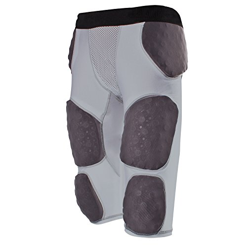 Cramer Lightning 7 Pad Football Girdle With Integrated Hip, Tailbone and Thigh Pads, Anti-Bacterial and Moisture-Wicking Fabric, Great Protection Without Impeding Athletic Performance, Gray, Large