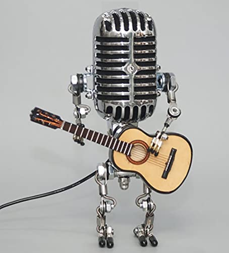 Vintage Microphone Robot Touch Dimmer Lamp Table Lamp-Robot Desk Lamp,Robot Desk Lamp with A Guitar for Office, Living Room, Bedroom Decoration (Without Light)