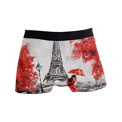 Alarge Herren Boxershorts Paris Eiffelturm Valentinstag Kurze Unterwäsche Weiche Stretch Unterhose für Männer Jungen S-XL Gr. X-Large, multi