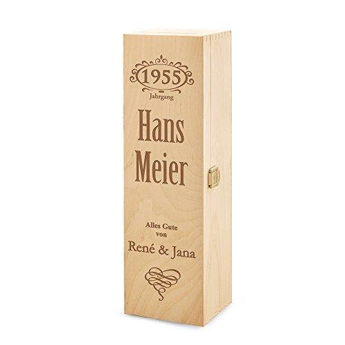 Casa Vivente - Weinbox aus Holz personalisiert mit [JAHRGANG] und [NAMEN] - Weingeschenk - Jubiläum - Geschenk für Männer - Geschenk für Frauen - Geburtstag -Personalisiert mit Namen - 37,5 cm x 11 cm x 10 cm