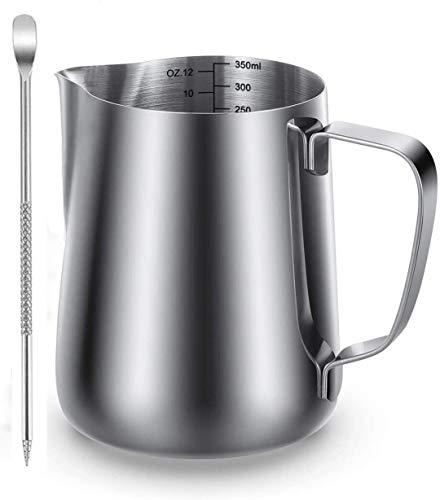 LIONGRI Milk Frothing Pitcher Milk Pitcher Milk cup for coffee Espresso Milk Frothing Pitcher Stainless Steel Milk Frothing Pitcher With Latte Art Pen 350ml /12oz(S)