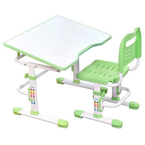 Tolalo Juego de escritorio de estudio y silla para niños, mesa y silla para niños, escritorio y silla para escribir, leer y dibujar (color verde)