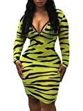 Adogirl Sexy Club Dresses for Women Zipper Bodycon Party Dress Deep V Neck Long Sleeve Zebra Print Midi Dress Yellow