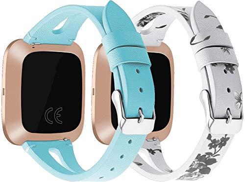 Correas de Reloj de Cuero Compatible con Fitbit Versa, Chainfo Bandas de Reloj de Piel de Becerro auténticas de la Vendimia Hombres Mujeres (2PCS E)