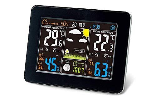 L.HPT Drahtlose Atomwetterstation mit Temperaturalarm Mit drahtlosem Sensor für den Innen- und Außenbereich Farbdisplay Wetterstation-Wecker