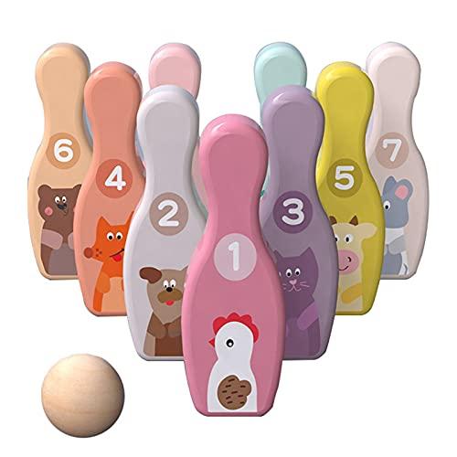 HDZW Hölzerne Digitale Bowlingkugel Set Kinder Pädagogisches Spielzeug Erwachsene im Freien Indoor-Spiele für Family Party Fun Interaction Spiel 6.8 (Color : 9 Bottles+1 Ball)
