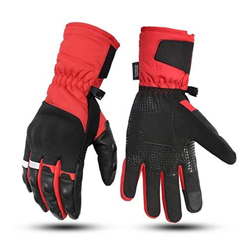 Guantes De Motociclista, Abrigados En Invierno, Protección Dura para Los Nudillos, Puños Largos para Mantener El Calor, Buen Ajuste, Pantalla Táctil (Red,M)