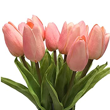 Artificial Tulip CATTREE 10pcs Artificial Flowers Fake Plants Real Touch Fake PU Flower for Wedding Bride Bridesmaid Bouquets Garden Home Decor Party Centerpieces Arrangement Decoration - Pink