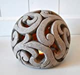 DEKO Kugel Keramik Dekokugel ca. 17cm grau-braun Gartendeko Beetdeko Pflanzdeko Windlicht Shabby rustikal Vintage Ornament Garten Tischdeko Frühling Sommer - 5