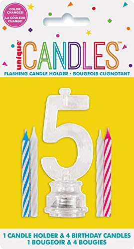Unique Party 37535 - Candela di Compleanno Numero 5 Cambia Colore Lampeggiante Portacandela Con 4 Candele