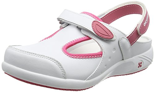 Safety Jogger Clogs for Women - Lightweight Leather Safety Shoe, Ideal for Hospital, Kitchen or Garden, Slip Resistant and Shock Absorbing Comfortable Clog, Oxypas Carin White/Pink, 5.5 UK 39 EU