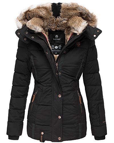 Marikoo Damen Winter Jacke Stepp Parka Mantel Kunstfell warm gefüttert Nekoo XS-XXL (XS, Schwarz)