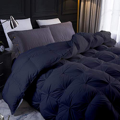 YGJT Black All Season Goose Down Pintuck Comforter- Grand King Size 106 x 106 Inches 1 pc Pinch Pleated Duvet, 550 GSM with Corner Tabs 100% Egyptian Cotton- Hypoallergenic Black Solid