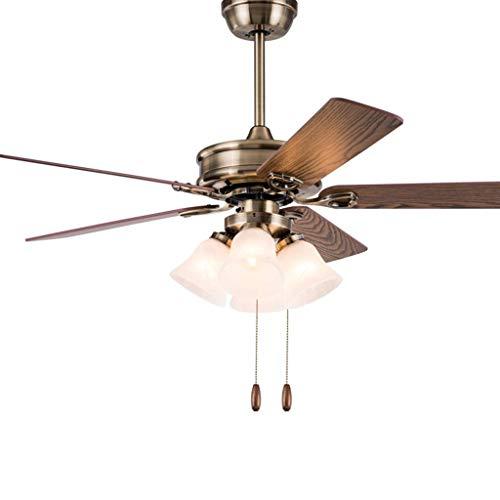 Ventilador de techo retro Luz de ventilador de techo americano con 4 pantalla de vidrio blanco Interruptor de cable de tracción Candelabro de ventilador de sala de estar retro para el hogar, luz de ve