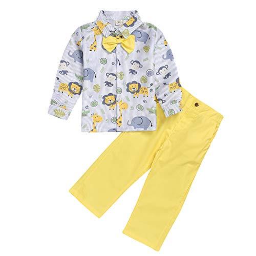Hui.Hui (1Y-6Y) Top à Manches Longues pour Enfants Lion Elephant Print Bow T-Shirt + Pantalon de Couleur Unie Gentleman Set Brother Wear