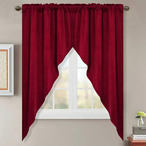 StangH Velvet Valances and Swags Pair - Christmas Red Velvet Drapes for Bedroom / Dining Decoration, W35 x L63, 2 Panels