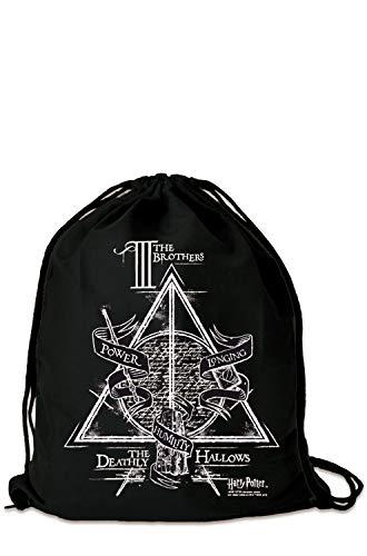 Logoshirt - Harry Potter - Los Tres Hermanos - Mochila Saco - Bolsa - negro - Diseño original con licencia